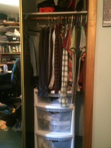 We went from having two 5' closets to half of one per person. Closet space is extremely limited in most tiny houses.