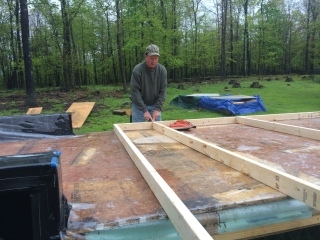 lay out first wall frame section on trailer