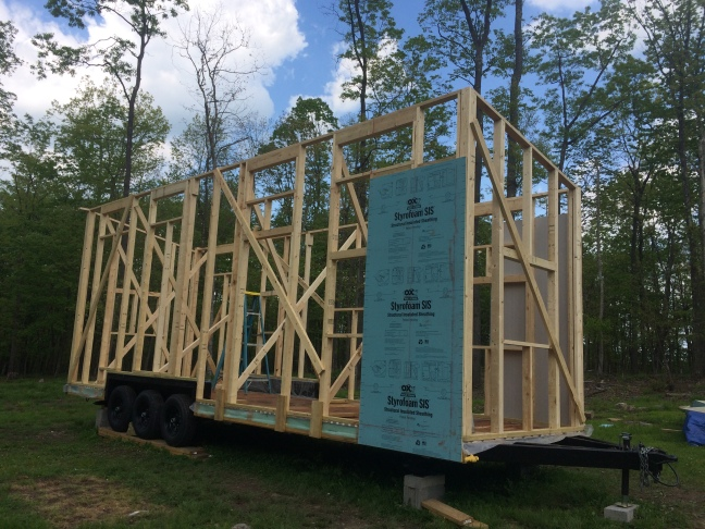 Tiny House Framing tiny house build floor framing trailer prep Tiny House All Wall Framing Done Side View