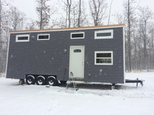 Our super-insulated tiny house is all roughed-in and doing well in the winter with a propane heat furnace!